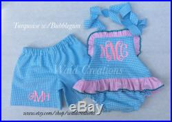 Monogram Baby Girls One piece ruffle swimsuit with SNAPS in CROTCH Boutique handmade