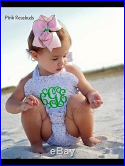 Monogram Baby Girls bathing suit, One piece ruffle swimsuit with SNAPS in CROTCH Boutique handmade in the USA, Girls gingham swimsuit