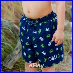 Monogram Kids' Navy Gettin' Crabby Swim Trunks Toddler Swimsuit with Monogram Personalized Boys' Embroidered Gift
