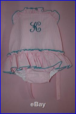 Monogram swimsuit for your Little Girl 1 piece 2 piece navy red green pink light blu aque
