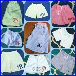 Monogrammed Boys Swim Trunks Swimsuit Toddler Boy Swim Trunks Gingham Swimsuit Seersucker Trunks Vacation Beach Pool Gift Personalized