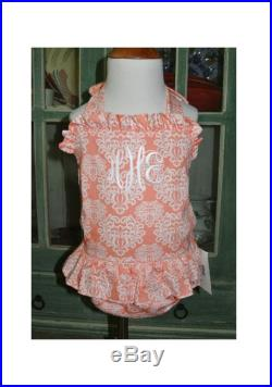 Monogrammed GIRL'S 1 Piece Swimsuit in Melon Coral Damask Personalized for Baby Girls and Toddlers