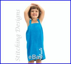 Monogrammed Girl's Spa wrap, Kid's Spa Wrap, Beach coverup, Swimsuit cover up, Flower girl spa wrap, Small and Medium, 4 colors available