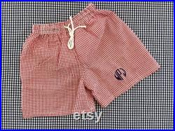 Monogrammed Red Gingham Boys Bathing Suit, Toddler Personalized Swim Shorts, Childs Gift, Summer Outfit, Preppy, Easter Basket Present