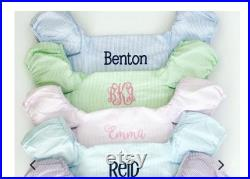 Monogrammed Seersucker Puddle Jumper Cover Pink, Blue, Green and Aqua Available