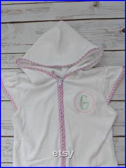 Monogrammed Swim Cover Up, Terry Coverup, Swimsuit Cover-up, Girl, Boy, Pool, Toddler, Kid, Wearable Towel, Personalized Kid, Hooded Towel