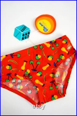 NEW 70s Swimsuits 122 128 ReTRO Swimming Pants OldschooL Unisex Vintage Nostalgia OBst Fruits Red