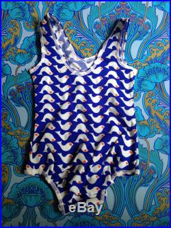 NEW Vintage 1960s 1970s Swimming costume blue white bird swim suit swimsuit Age 2, 2-3 poss 18-24 months. ex factory stock Made in England
