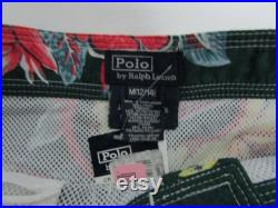 NOS Polo by Ralph Lauren Boys Green Floral Print With Yellow Pony Logo Swim Trunks Beach Surf Board Cargo Shorts