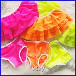 Neon Off the shoulder ruffle swim suit little girls swim suit ruffle swim suit toddler girls swim suit baby girl swim suit