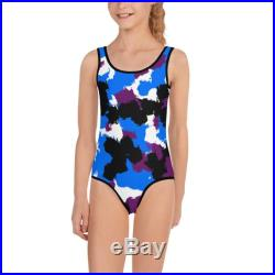 New Urban Camouflage Purple, White, Black, and Blue, Kids Swimsuit