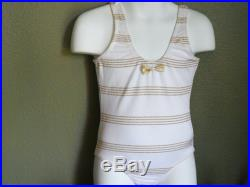 ON SALE-one piece girl's swimsuit-White with gold accent-Size 6, 7. The size runs small, please order at least 2 size up