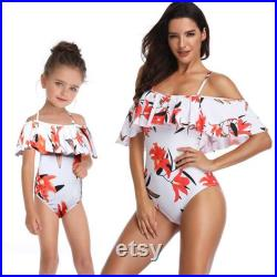 Off Shoulder Floral Fashion Cool White Beach Swimwear, Matching Mom And Daughter Outfits Cool Swimwear, Matching Mom, Vacation Swimsuit