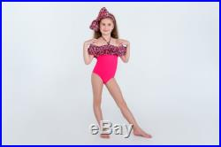 Open shoulders pink floral swimsuit with ruffles and a head bow by BabyLadySwim