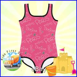 Paris Toddlers and Girls One Piece Swimsuit, French Rivera Style Toddlers Swim Suit, Beach Pool Summer Swimwear For Girls Toddler Swimwear