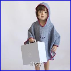 Personalised Child Hooded Cacoon beach Poncho Denim Blue