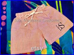Personalized Embroidered Toddler Boys Seersucker Swim Trunks