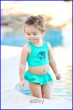 Personalized Mint Girls Toddler Swimsuit Set Monogrammed Embroidered Small Medium Large 2T 3T 4T 5T 6 6X