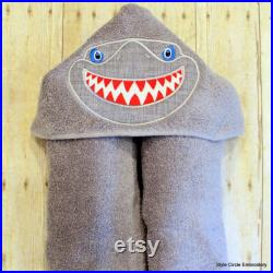 Personalized Shark Towel, Hooded Towel, Birthday Gift for Boys