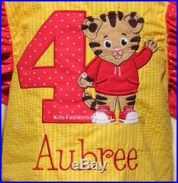 Personalized Yellow and Red Ruffle Swim Suit with Tiger Applique