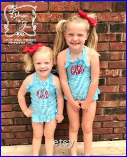 Pink Monogram Swimsuit, Monogrammed Swimsuit, Monogram Bathing Suit, Monogram One Piece, Monogram Girls Swimsuit, Personalized Swimsuit