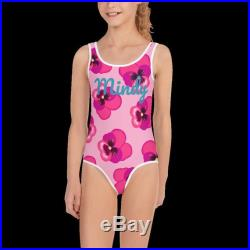 Pink Pansy Personalized Girls Swimsuit