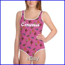 Pink Personalized Youth Dinosaur Swimsuit