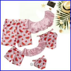 Pink Watermelon Swimsuit Family, Beach Swimwear, Matching Mom And Dad Outfits Cool Swimwear, Matching Father Dad Trunks, Vacation Swimsuit