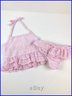 Pink and white seersucker child swimsuit with monogram -preppy girl -southern style personalized -bikini -ruffles -size 4 -5 -6