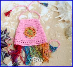 Pink or Lime Crop Top for Kids, Baby Girl Outfits, Girls Fringe Boho Top, Tropical Colors Halter for Toddler, Infant Swing Top, Hippie Kids