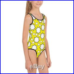 Pop Yellow and White Kids Swimsuit