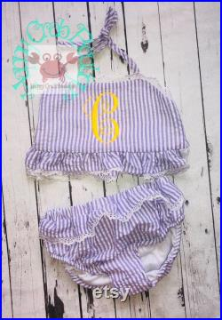 Purple Kids Seersucker Monogrammed Swimsuits Bikini with LACE by Happy Crab Boutique on SALE