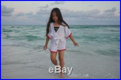READY TO SHIP Beach cover up for girls, coverup with Pom poms, beach cover up, girls swimsuit cover up, gauze cotton coverup, swim cover up