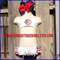 Red White Blue 4th of July Summer stars stripes Ruffled Halter Swimsuit Bikini Personalized Monogrammed Baby Toddler Youth vonBoutiqueBows