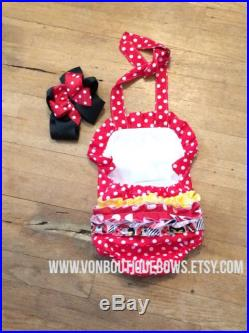 Red polka dot yellow Ruffled Halter Swimsuit Personalized Baby Toddler vonBoutiqueBows 3 6 12 18 months 2T 3T 4T 5T 6 girls