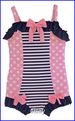 Ruffled Boyshort Swimsuit in Navy Stripe and Pink Polkadot SS16 Collection (Size 2 6) Markdown