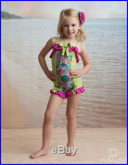 Ruffled Boyshort Swimsuit in Victory Garden SS17 Collection (Size 2-8)