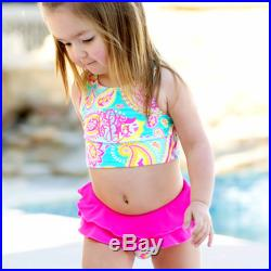 SALE Monogram Kids' Green and Hot Pink Summer Paisley Swimsuit Set Toddler Swimsuit with Monogram Personalized Girls' Embroidered Gift