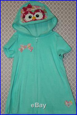 SALE Sweet Appliqued Owl Aqua Girls Size XS 4 5 Hooded Swimsuit Bathing Suit Cover Up Dress Personalization Available