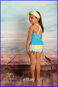 Sale Peplum Tankini and Trunks in Turquoise Dot and Lime Stripe (Size 2 12) Markdown