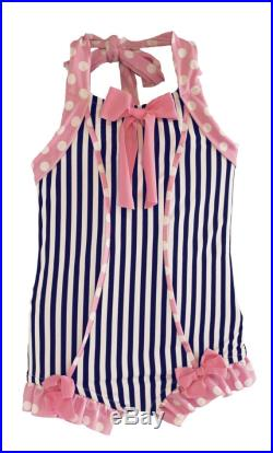 Sale Rebel Belle Swimsuit in Navy Stripe and Pink Polkadot (Size 4 and 5) Markdown