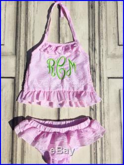 Sale Ships In 1-3 Days Monogram Swim, Personalized Girls Two Piece Swimsuit, Bikini Toddler Monogram Initial Outfit, Summer Kids Outfit