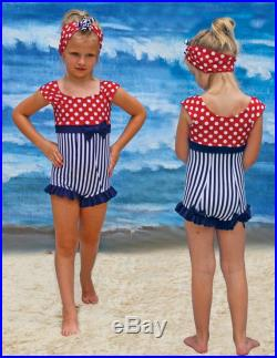 Short Sleeve Swimsuit in Seahorse 2018 Collection ETSY EXCLUSIVE (size 2-8)
