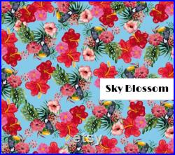 Sky Blossom Family Matching Swimwear Colorful Flowers Print.