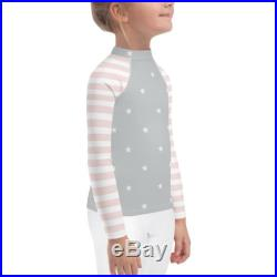 Stars Pattern Rash Guard for Toddler, Girls Swim shirts, Pink stripes and Grey Stars rash Guard for girls