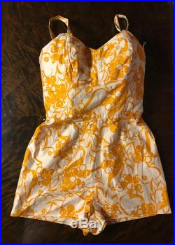 Super Cute 1960's yellow and white Bathing Suit, Romper with built in underwear