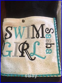Swim Girl Towel Pants kids teens can be personalized with swimmer's name