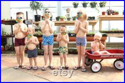 Swim Trunks Blue with Cream Boats Euro Style Swim Trunks Jammers Boy's Swimsuits Boy's Trunks