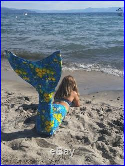 Swimmable Mermaid Tail Liquid Sunshine by Tahoe Mermaid Tails Comes with Monofin Optional Matching Tankini Top Available