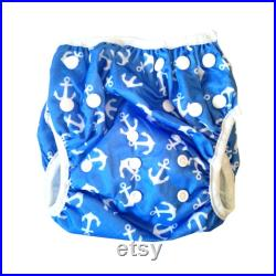 Swimming Nappy Anchor Print, Toddler Adjustable Washable Blue and White Swim Diaper, 5-25kg, 0-3 years Reusable Swim Pant